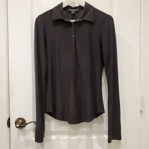 Black Express Mid Button Up Long Sleeve Blouse M